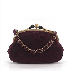 New! Vintage J. Crew Velvet Burgundy Kisslock Bag